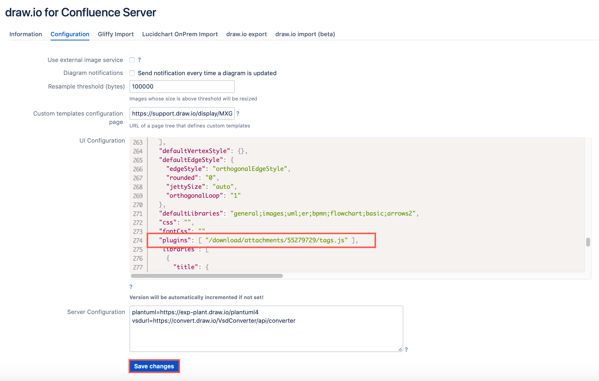 Add the tags plugin to draw.io in Confluence Server
