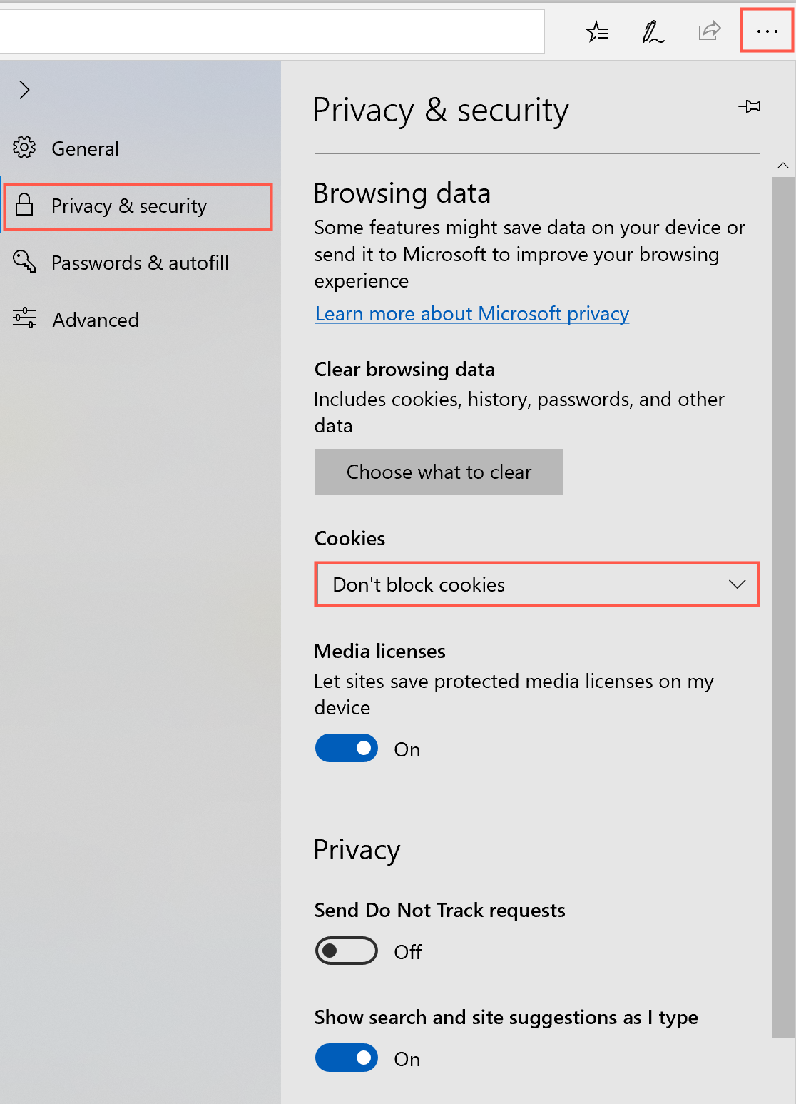 Ensure third party cookies are not blocked in Microsoft Edge