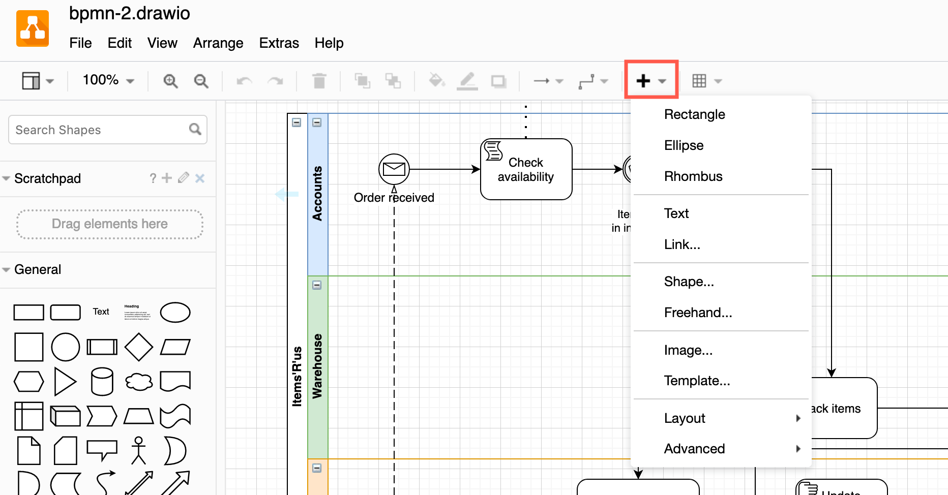 You can insert a wide range of shapes, text, links, layouts, images, templates and more via the Insert tool on the toolbar in diagrams.net