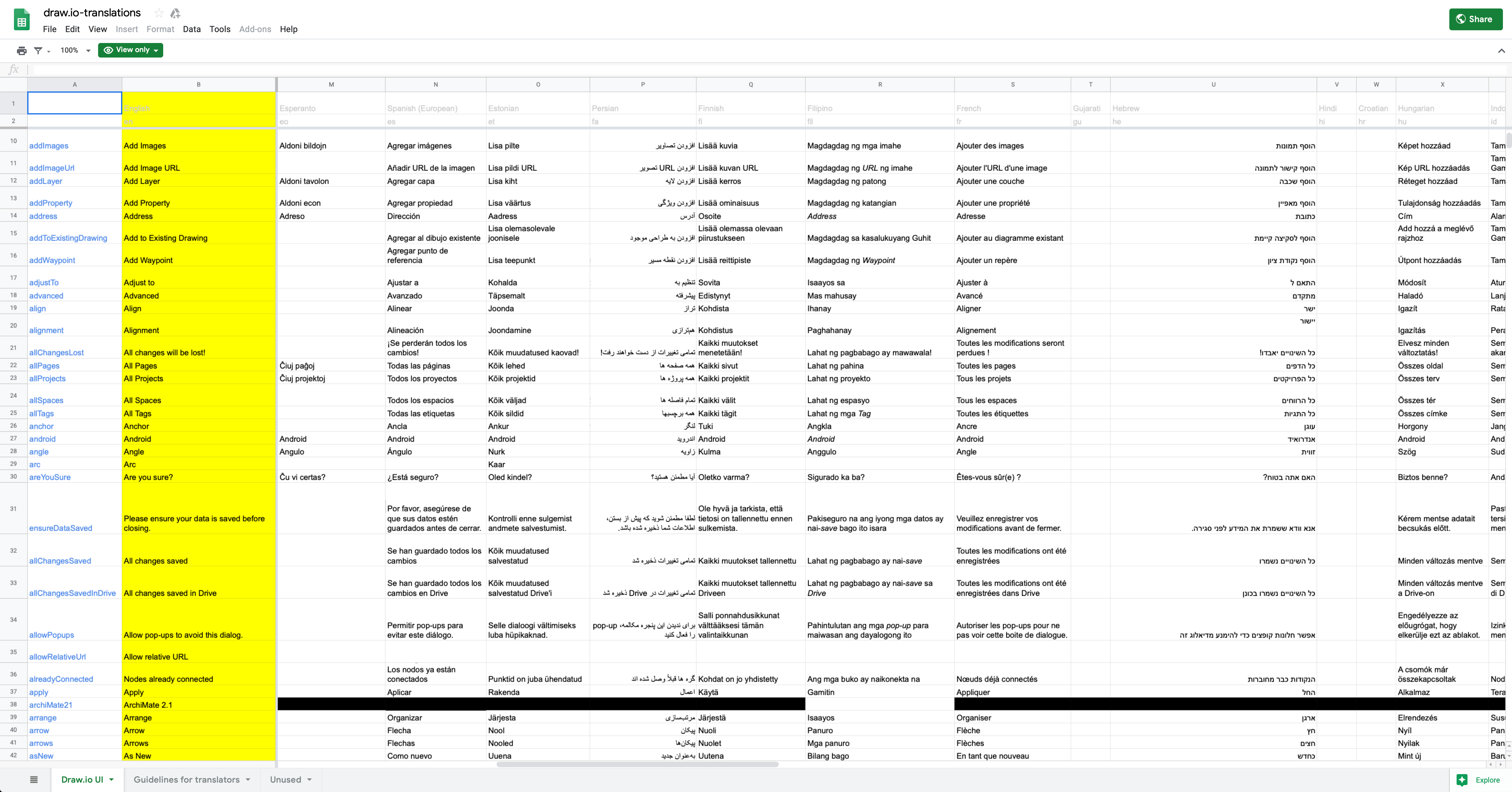The diagrams.net UI languages in a Google sheet – let's collect them all