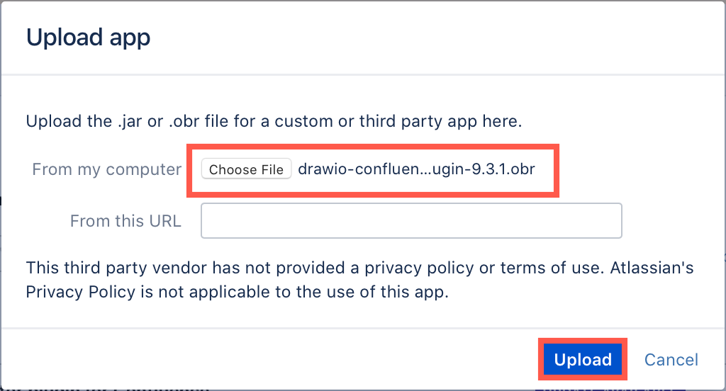 Choose the .obr file you just downloaded to upload to your Confluence Server instance