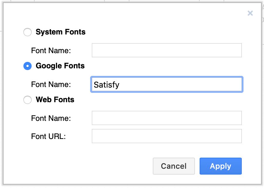 Enter the name of a new Google font