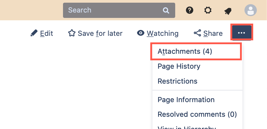 Open the page attachments on Confluence Server